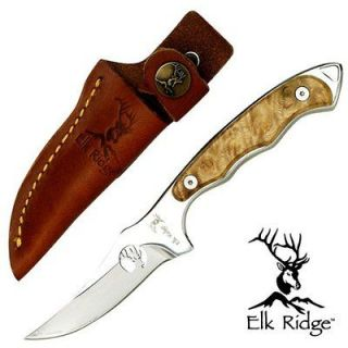 ELK RIDGE FULL TANG SKINNER HUNTING KNIFE BURL WOOD w/ LEATHER SHEATH