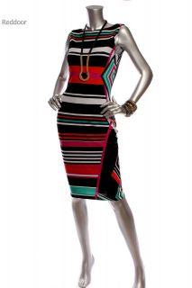 New W/O Tag CACHE Women Color Block Sleeveless Dress Black White Multi