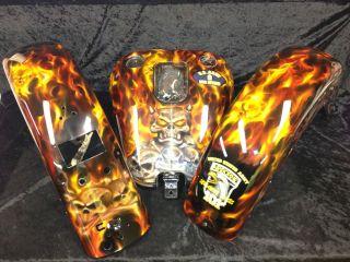 airbrushing paint job Harley tins skulls flames candy motorcycle parts