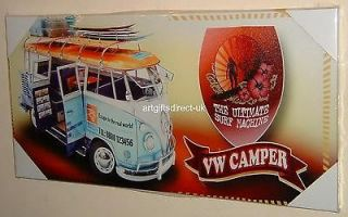 STUNNING RETRO VW CAMPER VAN THE ULTIMATE SURF MACHINE CANVAS WALL ART