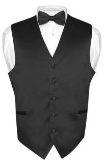 Mens BLACK Dress Vest BOWTie Set for Suit or Tuxedo Small