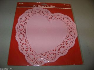 VALENTINES DAY Party Heart Shaped PAPER DOILIES 10