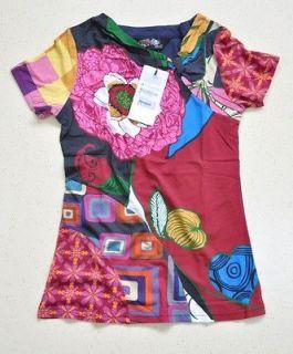 2012 Desigual Womens Star Flower T shirt SIZE L 025