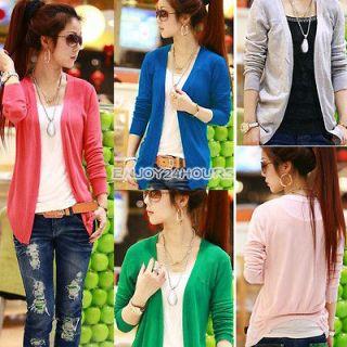 Long Sleeve Thin Casual Candy Colors Irregular Hem Knit top Cardigan