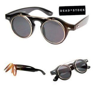 CLASSIC Flip Up Sunglasses SUPER DARK BLACK & CLEAR LENS glasses