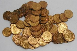 LOT OF 100 1959 10 DIEZ CENTAVOS BRONZE/JUAREZ MEXICAN COINS   MOSTLY