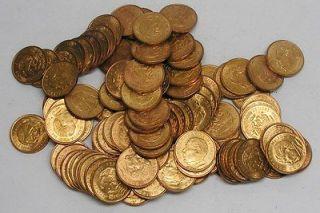 LOT OF 100 1959 10 DIEZ CENTAVOS BRONZE/JUAREZ MEXICAN COINS   MOSTLY