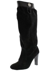 Michael Kors NEW Harness Black Suede Knee High Boots Heels Shoes 10