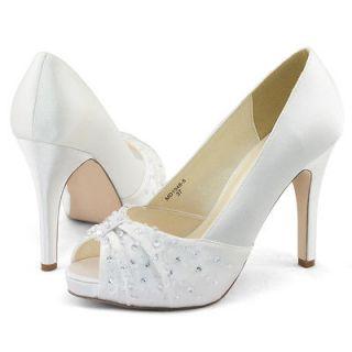 Womens white satin beads wedding dress peep toe platform heels shoes