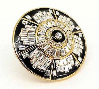CC Skye Enamel & Crystal Art Deco Blossom Ring