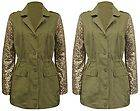 Sequin Sleeve Khaki Military Jacket Coat Parka UK 8 10 12 14 Celebrity