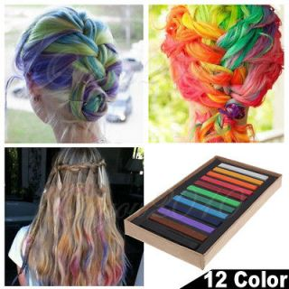 12 Color High Quality Hair Chalk Non toxic Temporary Salon Kit Pastel
