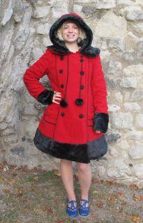 Hell Bunny Red Black Faux Fur Winter Coat Sarah Jane New Corset Hood