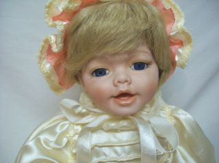 Victorian 18 Porcelain/Cloth Girl Baby Doll In Long Satin Christening