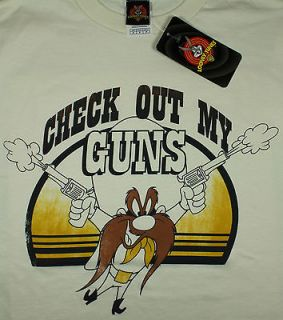 Looney Tunes Yosemite Sam Shirt Check Out My Guns Muscles Cream S/M/L