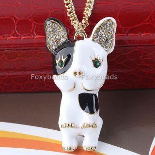 1Pc Enamel Black White Chihuahua Puppy Dog Rhinestone Crystal Pendant