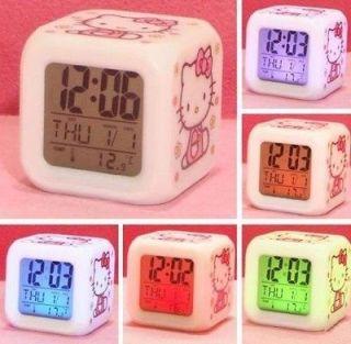 LED Color Colour Hello Kitty Digital ALARM CLOCK