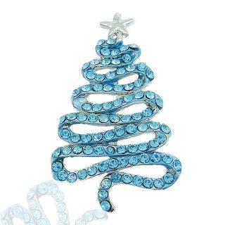 Hot Ribbon Christmas Tree Star Pin Brooch Blue Rhinestone Crystal