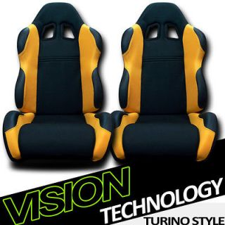 2x LH+RH Black/Yellow Fabric & PVC Leather Reclinable Racing Seats