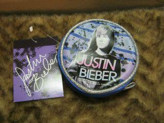 New blue Justin Bieber coin purse wallet teen idol pop culture