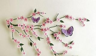 Cherry Blossom Flower Butterfly Pink Metal Wall Art 3D Wall Hanging