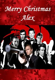 JAMES BOND PERSONALISED CHRISTMAS CARD SON DAD GRANDAD BROTHER DANIEL