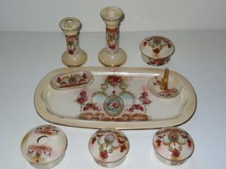 PRETTY RED ROSE SWAG 9 PIECE ART DECO CHINA VANITY DRESSING TABLE SET