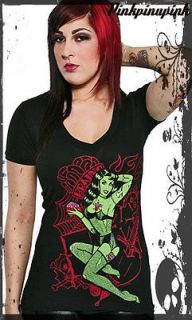 Sourpuss Voodoo Doll VNeck Tee Shirt Dead Girl Goth Punk Pinup