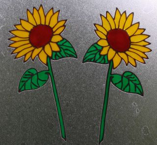 Sunflower spring flower window glass cling stickers transfer decals