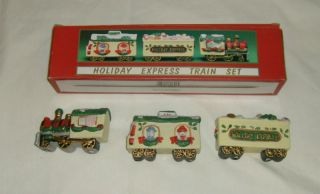 Hand Painted Porcelain Holiday Express Train Set New