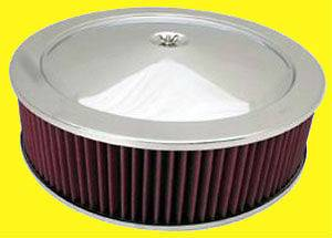 14 Chrome Air Cleaner Kit Breather Red Washable Filter 14x4 4in