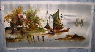 Tokyo Japan Street Art Oil Painting of a Rural Water Scene by Tang