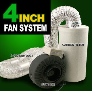 New MTN Hydroponics 4 Inline Duct Tube Exhaust Fan Carbon Filter Kit