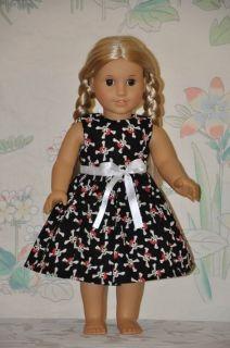 American Girl Doll Clothes Black Dress Skull and Cross Bones Ribbon