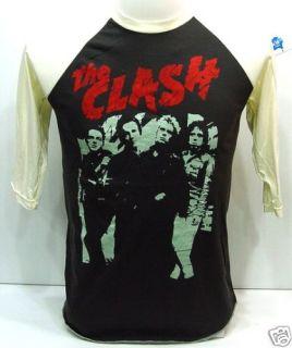 THE CLASH 80s UK Concert VTG Punk Rock 3/4 T Shirt M