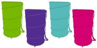 New Pink Purple Green Blue Barrel Pop Up Nylon Laundry Hamper Large
