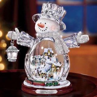 Thomas Kinkade Illuminated Crystal Snowman White Christmas w/ Moving
