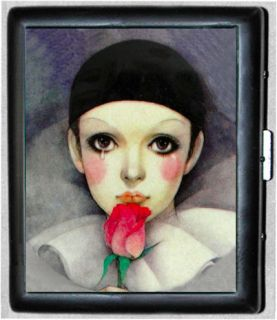 Pierrot Sad Clown Vintage Art Black Metal Wallet Cigarette Case #629