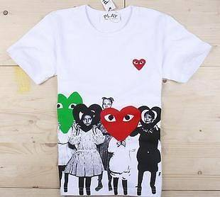 COMME Des GARCONS CDG PLAY HEART MENS T SHIRT WHITE SZ L