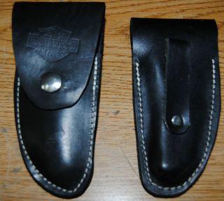 New Low Profile Harley Davidson Knife Case Black Leather 5 w