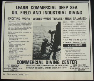 1971 SCUBA SKIN DIVERS COMMERCIAL DEEP SEA DIVING OIL FIELD BELL AD