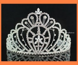 AUSTRIAN RHINESTONE CRYSTAL CROWN TIARA WITH COMBS PAGEANT PROM H1396
