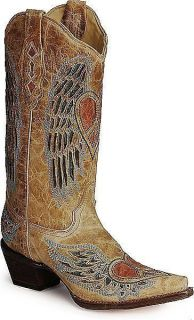 Womens Handmade Vintage Tan Leather Corral Angel Wing & Heart Boots