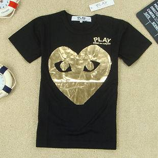 COMME Des GARCONS CDG PLAY GOLD LADY T SHIRT BLACK SZ S