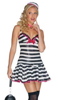 Sexy Womens Escaped Prisoner Convict Plus Size Halloween Costume