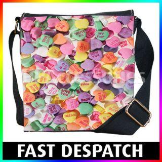 Love Hearts Sweets Miss You Hug Me Denim Shoulder Bag