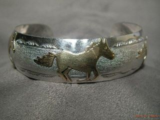 Corbet Joe Navajo Sterling Silver & Gold Filled Horse Cuff Bracelet