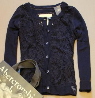 NWT Abercrombie A&F Womens Lace Floral Sweater Cardigan Top Jumper by