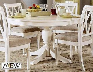 Ft Antiqued White Round Dining Table w/ One Leaf