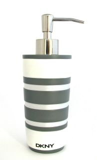 DKNY GREY/GRAY+WHIT​E STRIPED RIBBON KITCHEN/BATHRO​OM SOAP/LOTION